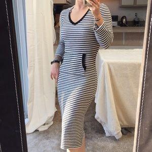 Monteau Striped Bodycon Midi Dress